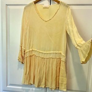 NEW Abree Mineral Washed Yellow Tunic Dress